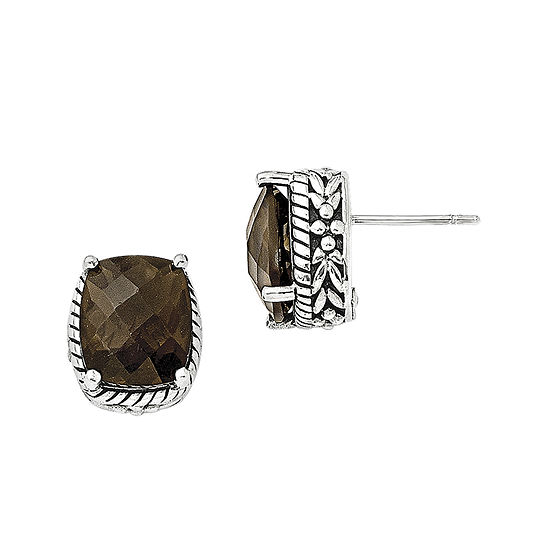Shey Couture Smoky Quartz Sterling Silver Antiqued Earrings