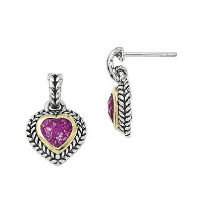 Shey Couture Lab-Created Pink Sapphire Sterling Silver Antiqued Heart Earrings