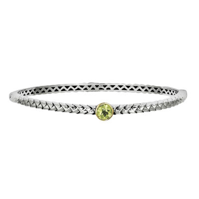 Shey Couture Sterling Silver Genuine Peridot Bangle Bracelet