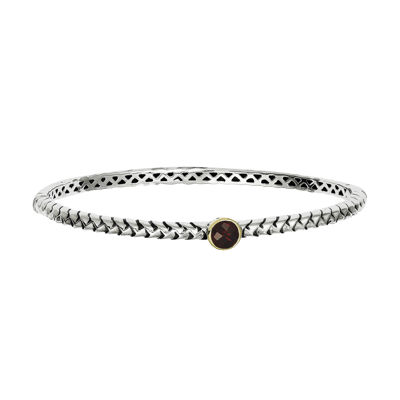 Shey Couture Sterling Silver Genuine Garnet Bangle Bracelet
