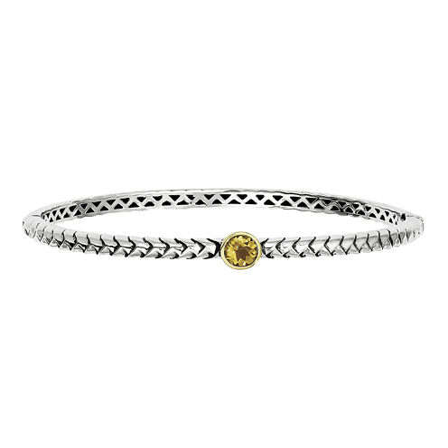 Shey Couture Sterling Silver Genuine Citrine Hinged Bangle Bracelet