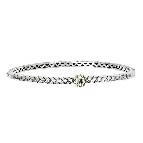 Shey Couture Sterling Silver Genuine Green Quartz Bangle Bracelet