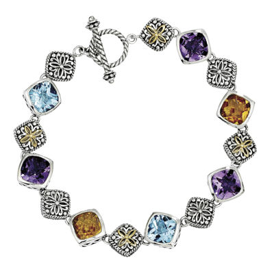 Shey Couture Genuine Multi Gemstone Sterling Silver and 14K Gold Bracelet