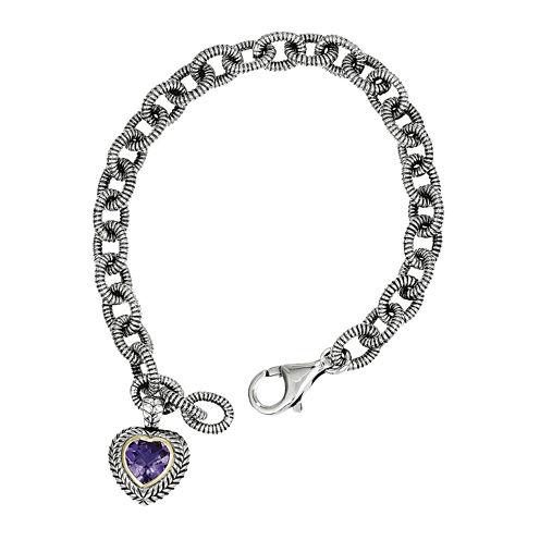 Shey Couture Sterling Silver Genuine Amethyst Heart Link Bracelet