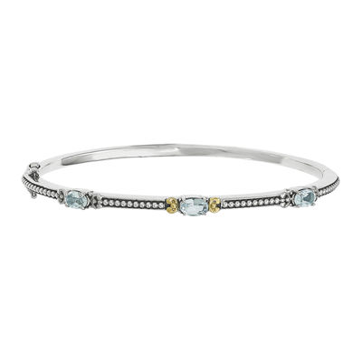Shey Couture Genuine Sky Blue Topaz Sterling Silver and 14K Yellow Gold Bangle Bracelet