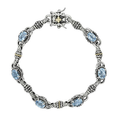 Shey Couture Genuine Swiss Blue Topaz 14K Gold Over Sterling Silver Bracelet
