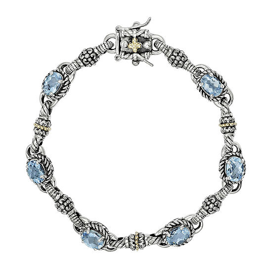 Shey Couture Genuine Swiss Blue Topaz 14K Gold Over Sterling Silver Bracelet