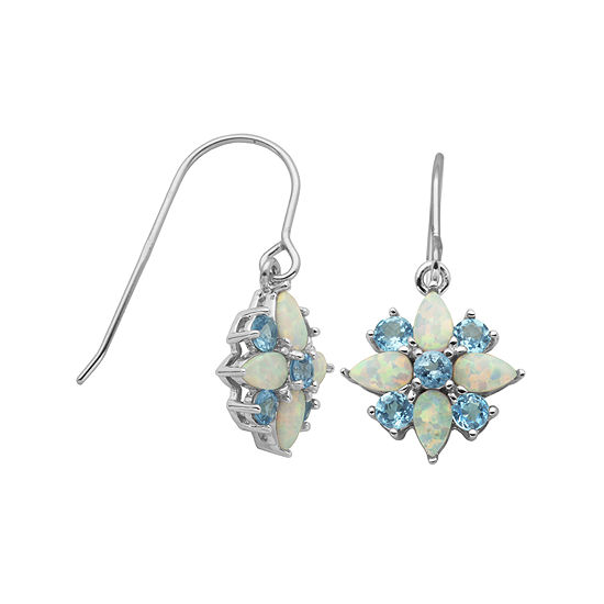 Genuine Swiss Blue Topaz And Lab Created Opal Cluster Earrings