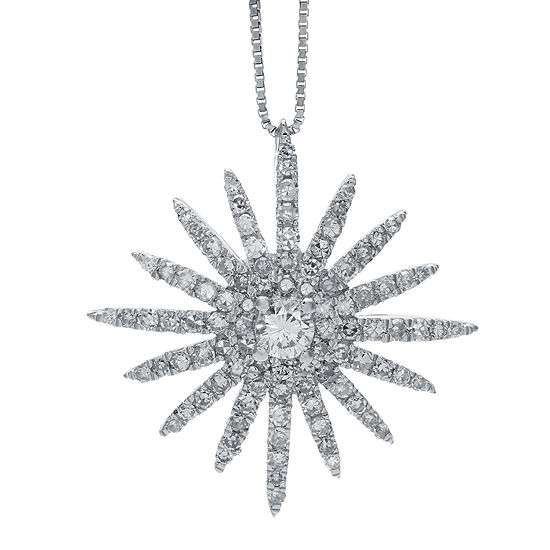 5/8 CT. T.W. Diamond 14K White Gold Starburst Pendant Necklace