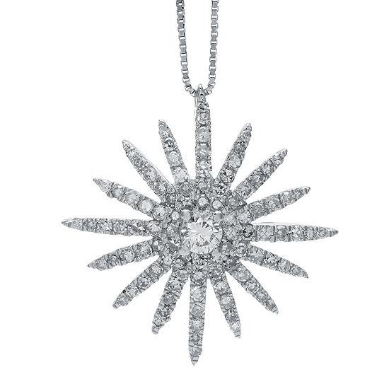 5 8 Ct Tw Diamond 14k White Gold Starburst Pendant Necklace