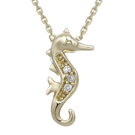 Diamond-Accent 10K Yellow Gold Seahorse Mini Pendant Necklace