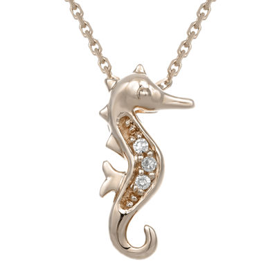 Diamond-Accent 10K Rose Gold Seahorse Mini Pendant Necklace