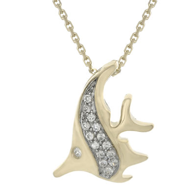 Diamond-Accent 10K Yellow Gold Angelfish Mini Pendant Necklace