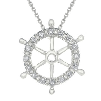 Diamond-Accent 10K White Gold Ship Wheel Mini Pendant Necklace