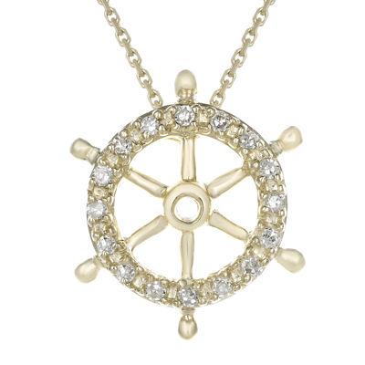 Diamond-Accent 10K Yellow Gold Ship Wheel Mini Pendant Necklace