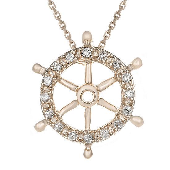 Diamond Accent 10k Rose Gold Ship Wheel Mini Pendant Necklace