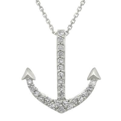 Diamond-Accent 10K White Gold Anchor Mini Pendant Necklace