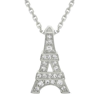 Diamond-Accent 10K White Gold Eiffel Tower Mini Pendant Necklace