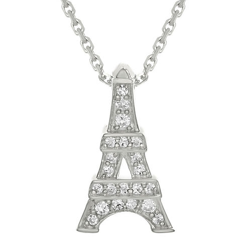 Diamond-Accent 10K White Gold Eiffel Tower Mini Pendant Necklace