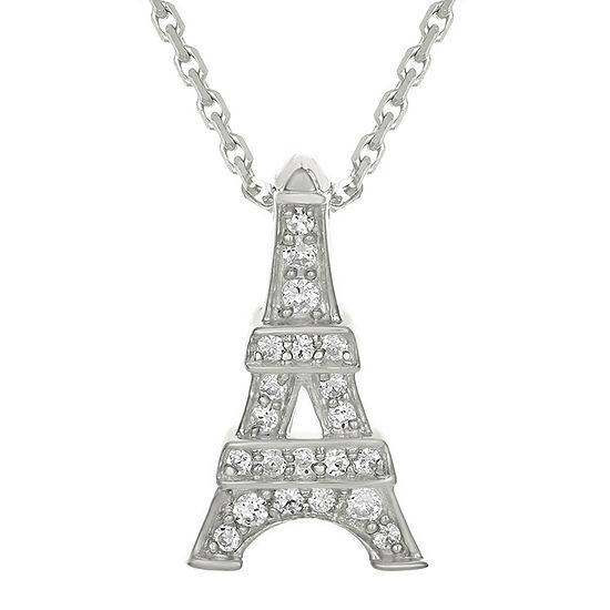 Diamond accent 10k white gold eiffel tower mini pendant necklace diamond accent 10k white gold eiffel tower mini pendant necklace aloadofball Image collections