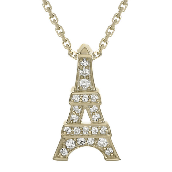 Diamond-Accent 10K Yellow Gold Eiffel Tower Mini Pendant Necklace
