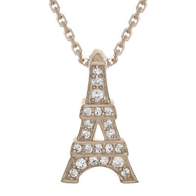 Fine Jewelry Diamond-Accent 10K Rose Gold Eiffel Tower Mini Pendant Necklace 96Lc0bF