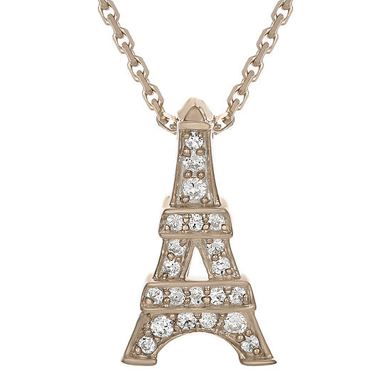 Diamond-Accent 10K Rose Gold Eiffel Tower Mini Pendant Necklace