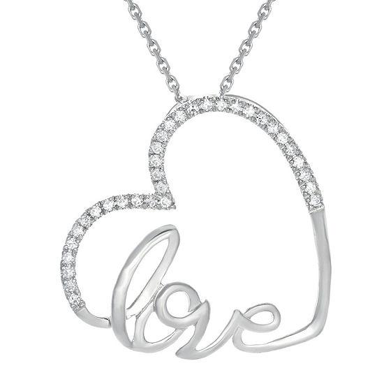 1/10 CT. T.W. Diamond 10K White Gold Heart Mini Pendant Necklace