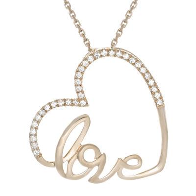1/10 CT. T.W. Diamond 10K Rose Gold Heart Mini Pendant Necklace