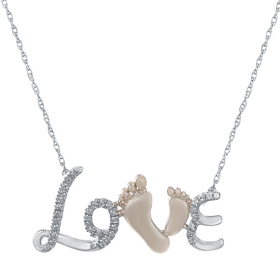1/10 CT. T.W. Heat-Treated Diamond 10K White and Rose Gold Love Pendant Necklace