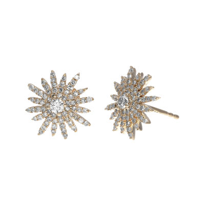 3/4 CT. T.W. Diamond 14K Rose Gold Starburst Stud Earrings
