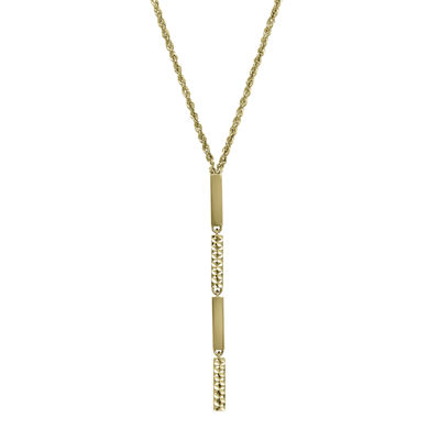 14K Yellow Gold Diamond-Cut Striped Lariat Necklace