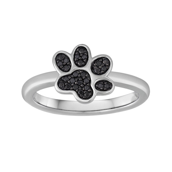 1/10 CT. T.W. Color-Enhanced Black Diamond Paw Print Ring