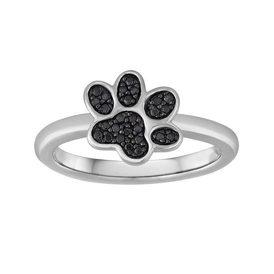 1/10 CT. T.W. Color-Enhanced Black Diamond Paw Print Ring