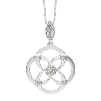 1/10 CT. T.W. Diamond Sterling Silver Flower Pendant Necklace
