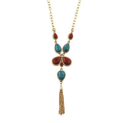 Artsmith By Barse Bijoux Bar Womens Genuine Blue Pendant Necklace