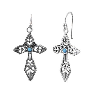 Art Smith by BARSE Blue Howlite Silver Over Brass Cross Earrings