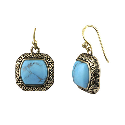 Art Smith by BARSE Square Howlite Brass Drop Earrings