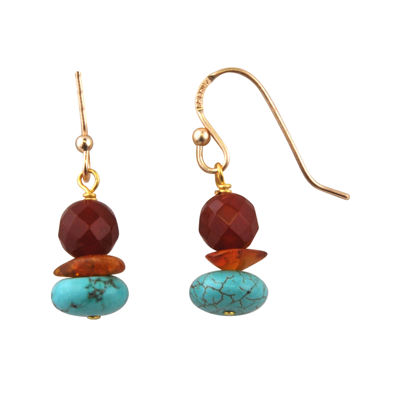 Art Smith by BARSE Brass Turquoise, Amber and Carnelian Drop Earrings
