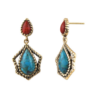 Art Smith by BARSE Brass Turquoise and Amber Drop Earrings
