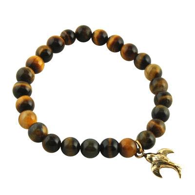 Art Smith by BARSE Genuine Tiger's Eye Brass Stretch Bead Bracelet