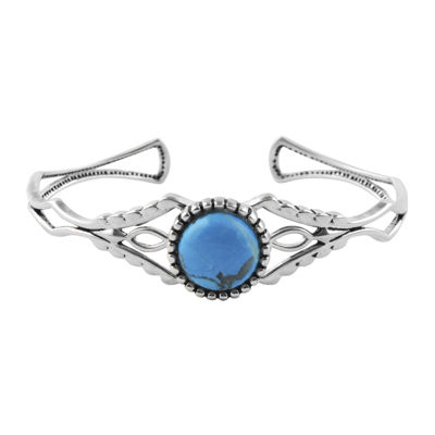 Art Smith by BARSE Blue Howlite Silver Over Brass Cuff Bracelet