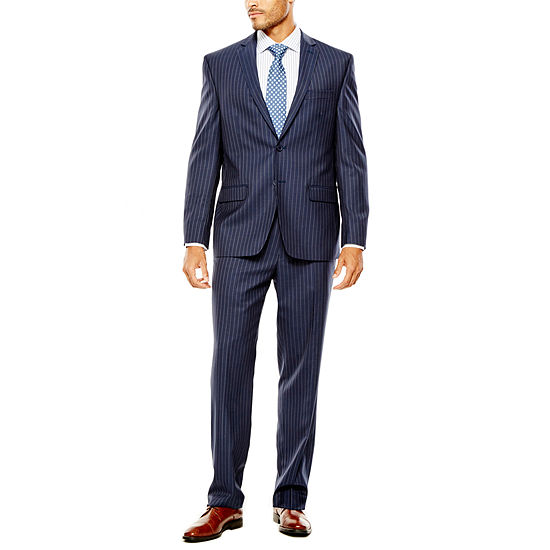 Collection By Michael Strahan Striped Navy Suit Separates Classic Fit