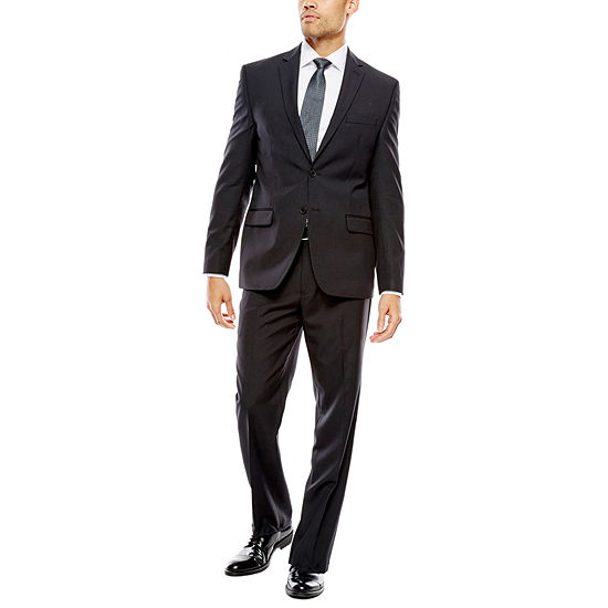 Collection By Michael Strahan Striped Black Suit Separates Classic Fit