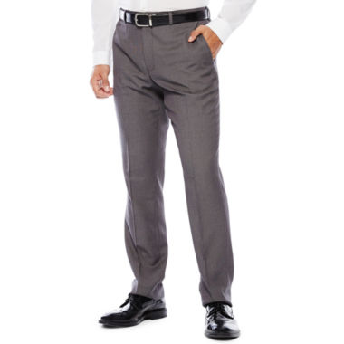 The Savile Row Company Birdseye Flat-Front Suit Pants - Slim Fit