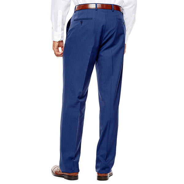 Collection by Michael Strahan Blue Herringbone Flat-Front Suit Pants - Classic Fit