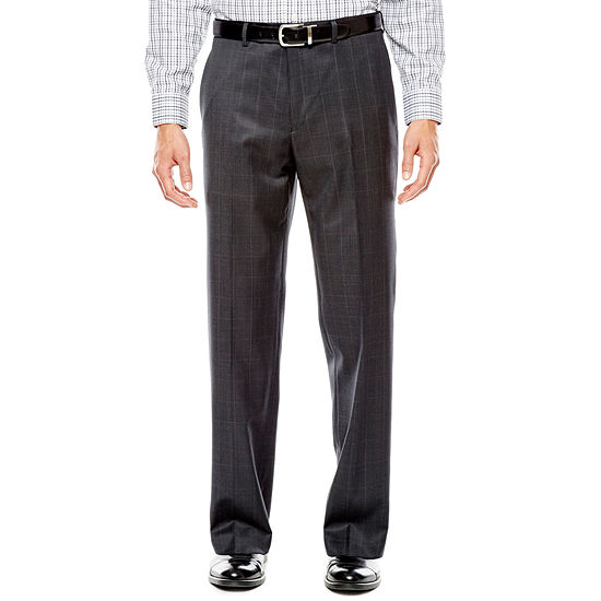 Collection by Michael Strahan Charcoal Windowpane Flat-Front Suit Pants - Classic Fit
