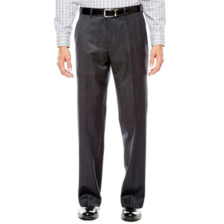 Collection by Michael Strahan Charcoal Windowpane Flat-Front Suit Pants - Classic Fit, 30 30, Black
