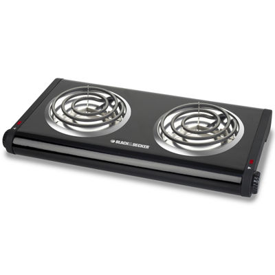 Black+Decker DB1002B Double Burner Buffet Range