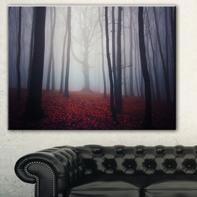 Designart Dark Spooky Misty Forest Landscape PhotoCanvas Art Print - 3 Panels
